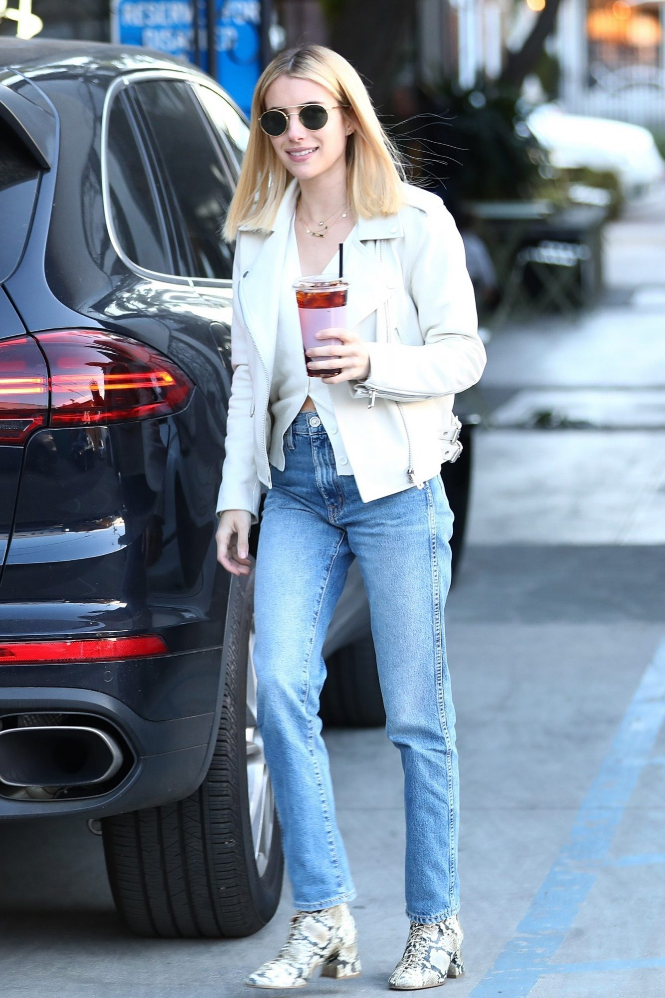Emma Roberts Wore Hobo Rsquo S White Leather Motorcycle Jacket Instyle