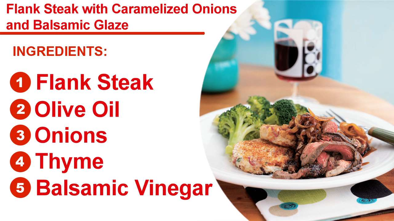Flank Steak Caramelized Onions Balsamic Glaze Recipe Myrecipes