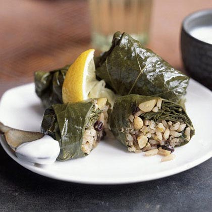 Grape Leaves Stuffed With Rice Currants Herbs Recipe Myrecipes