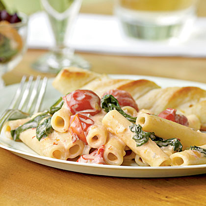 Ziti Spinach Cherry Tomatoes Gorgonzola Sauce Recipe Myrecipes