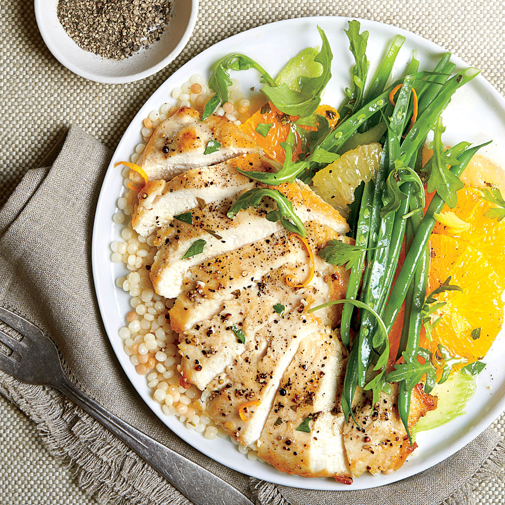 Chicken Paillard With Citrus Salad And Couscous Recipe Myrecipes