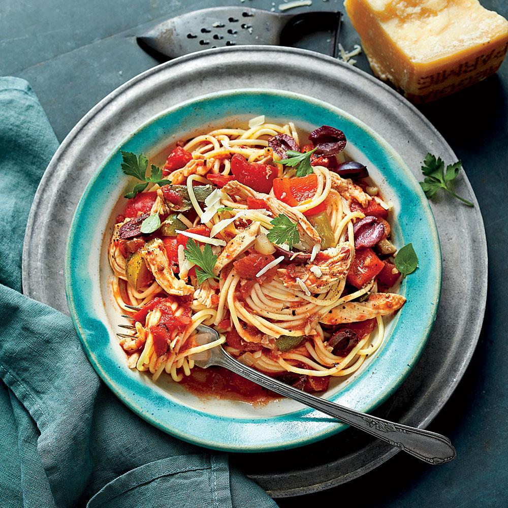 Slow Cooker Chicken Cacciatore With Spaghetti Recipe Myrecipes