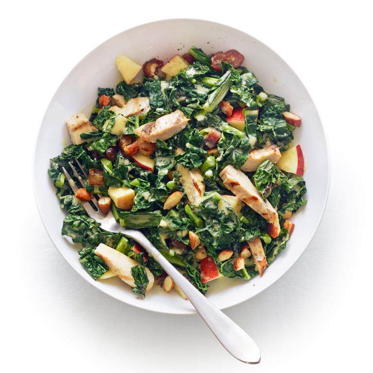 Grilled Chicken Kale Salad Tahini Lemon Dressing Recipe Myrecipes