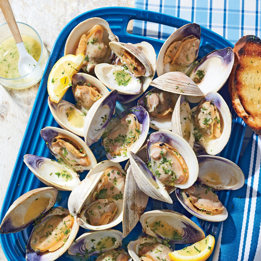 Grilled Clams With White Wine Garlic Butter Recipe Myrecipes