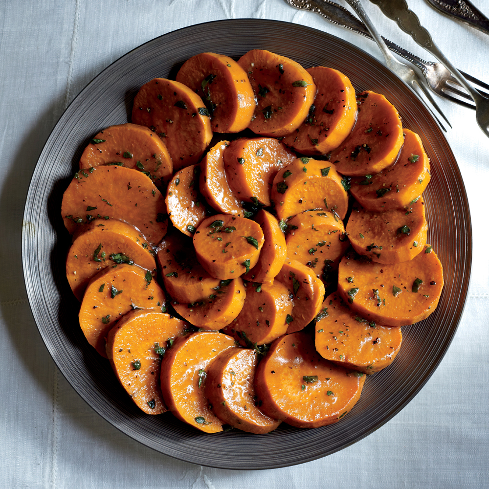 Glazed Sweet Potatoes With Maple Gastrique Recipe Myrecipes