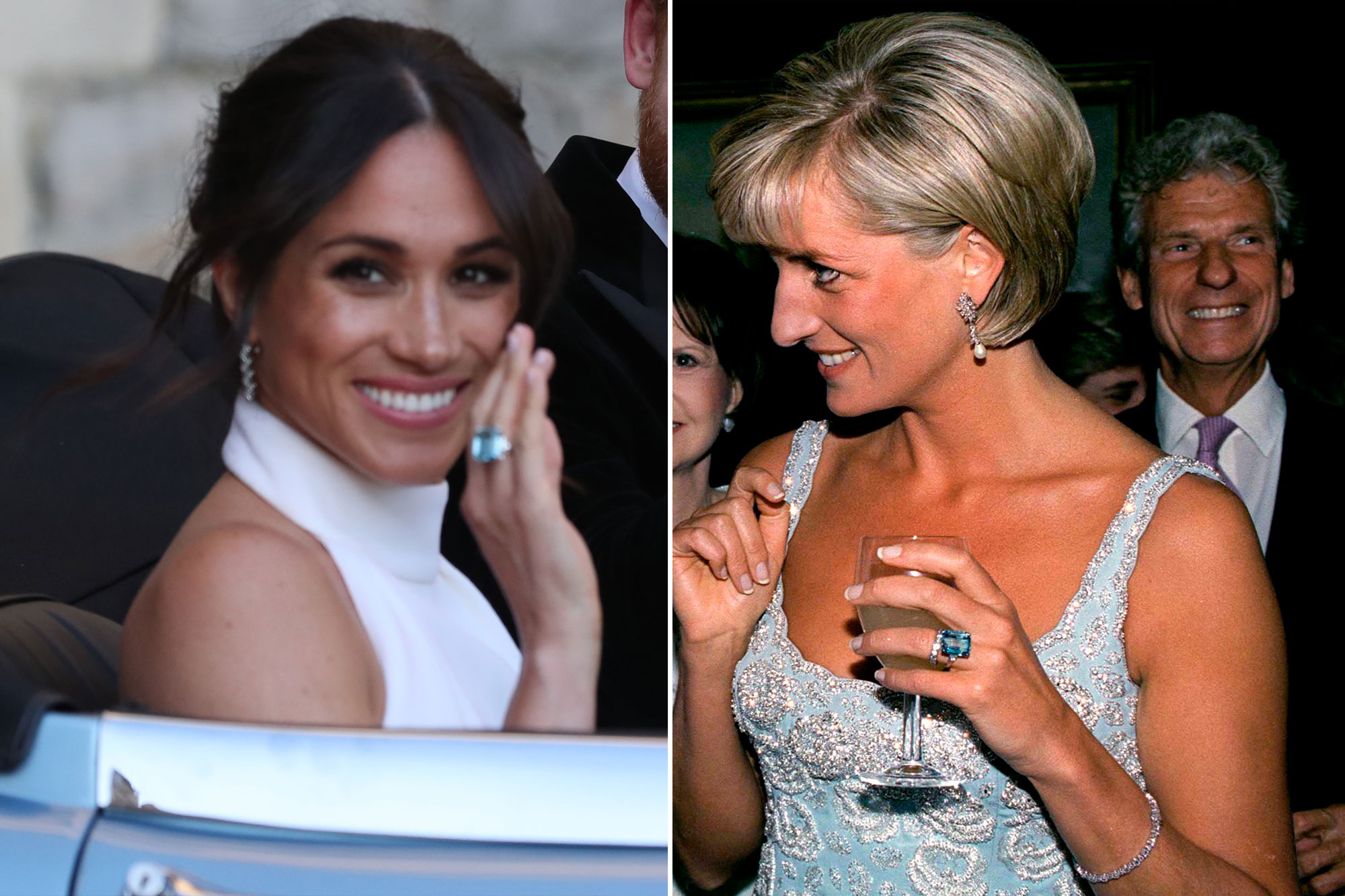 meghan markle wears princess diana s aquamarine ring people com meghan markle wears princess diana s
