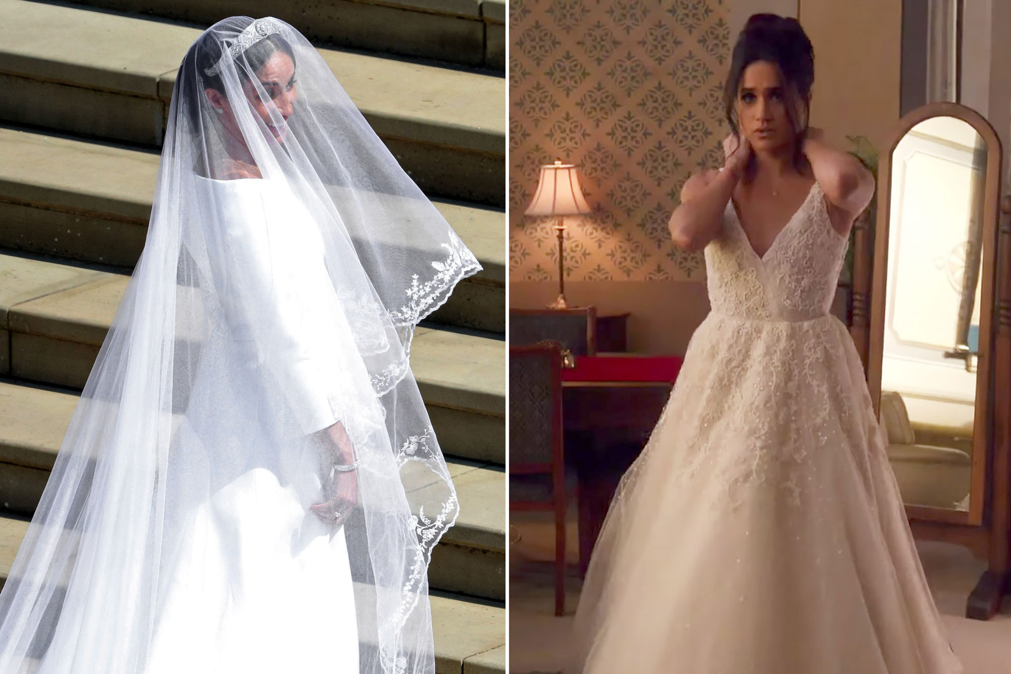 meghan markle comparing her royal wedding dress to suits dress people com her royal wedding dress to suits dress