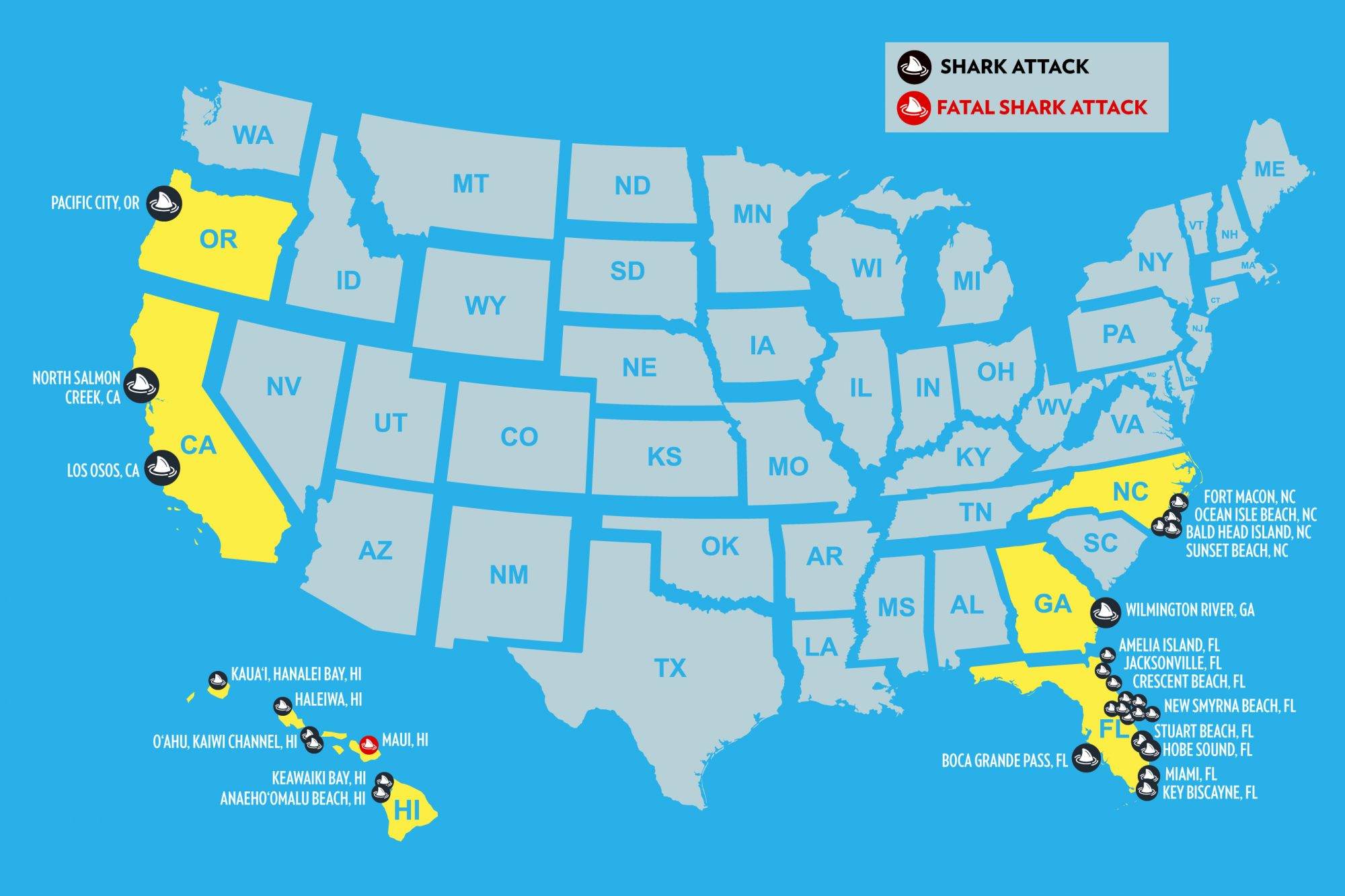 Shark Attacks In Florida Map Map of All the U.S. Shark Attacks in 2019 | PEOPLE.com