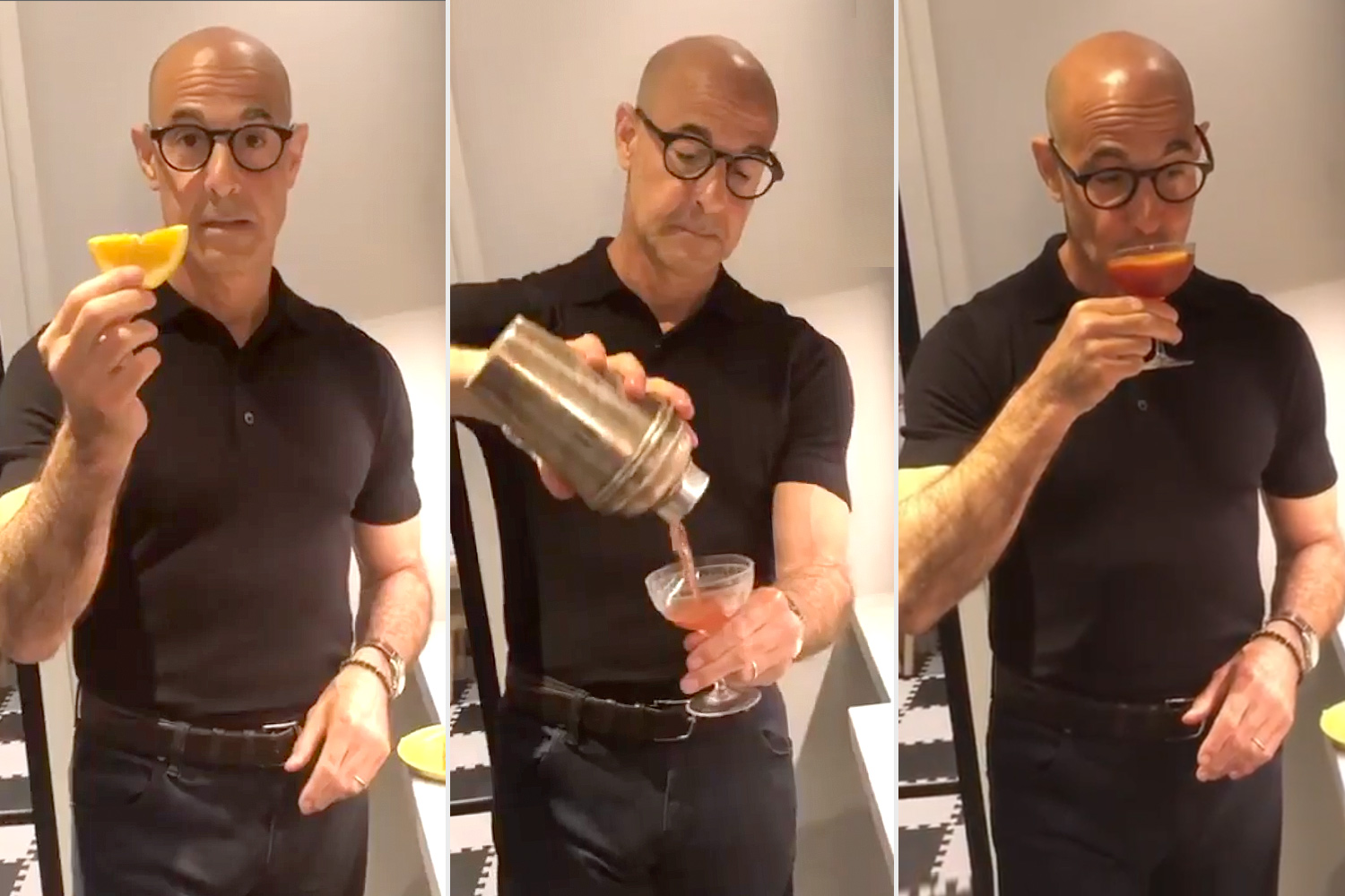 Stanley Tucci Shows Bartending Skills to Make Cocktail for Wife   PEOPLE.com