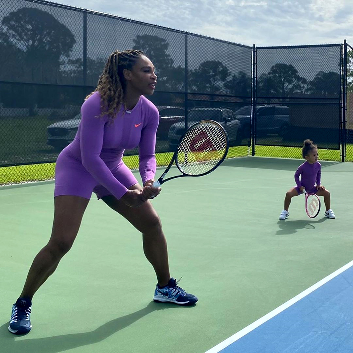 Serena Williams And Daughter Olympia 2 Twin On Tennis Court People Com