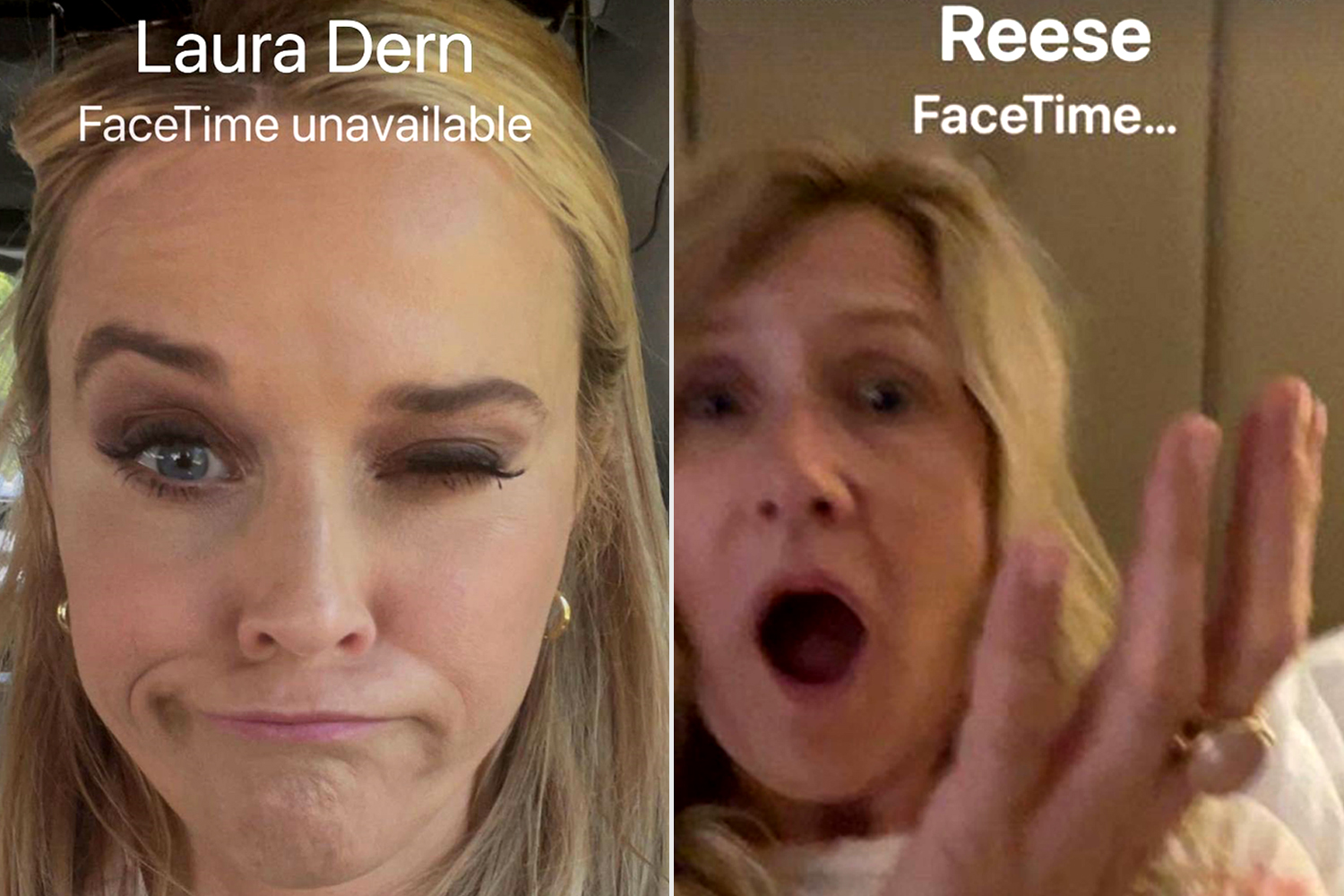 Reese Witherspoon, Pal Laura Dern이 FaceTime 통화를 놓친 것에 대해 놀리다: '전화를 받으세요!'