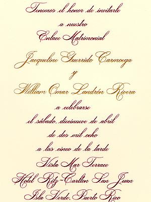 Jackie Guerrido y Don Omar Invitacion