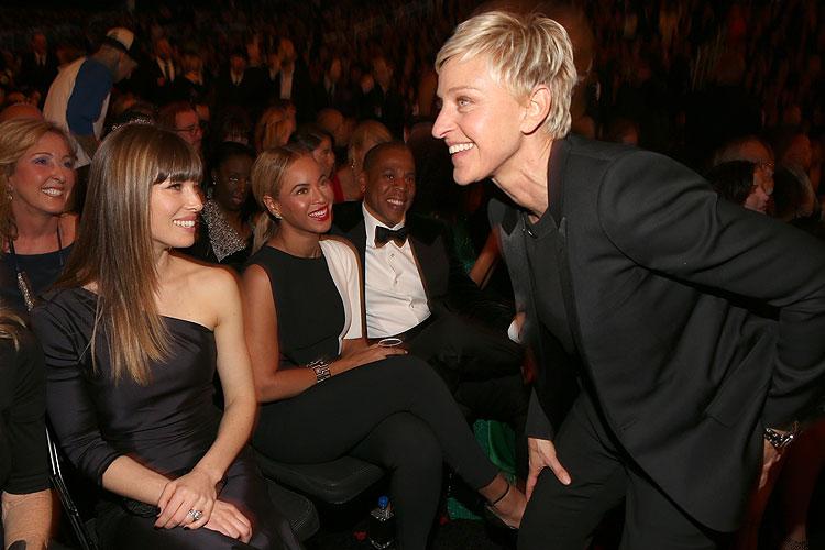 Ellen DeGeneres, Jessica Biel, Beyoncé, Jay-Z, Grammy 2013