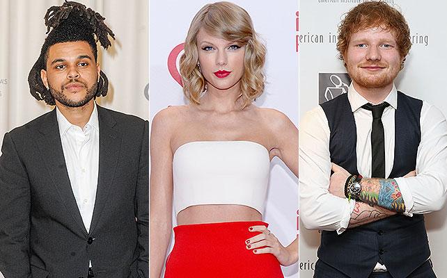 The Weeknd, Taylor Swift, Ed Sheeran