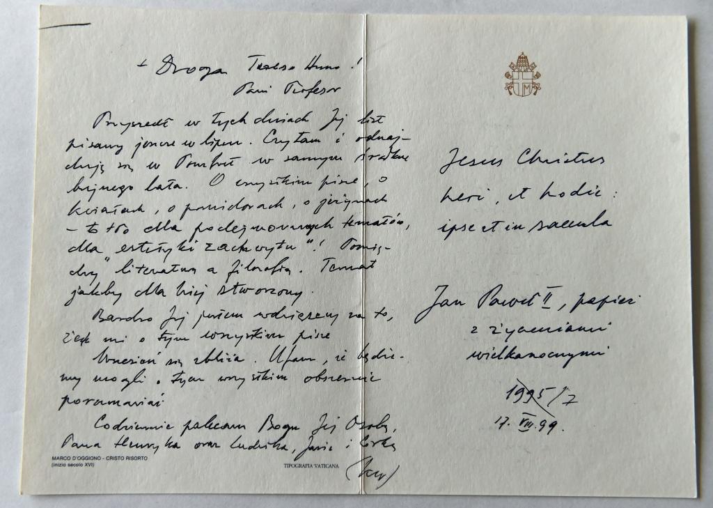 Tarjeta de Papa Juan Pablo II