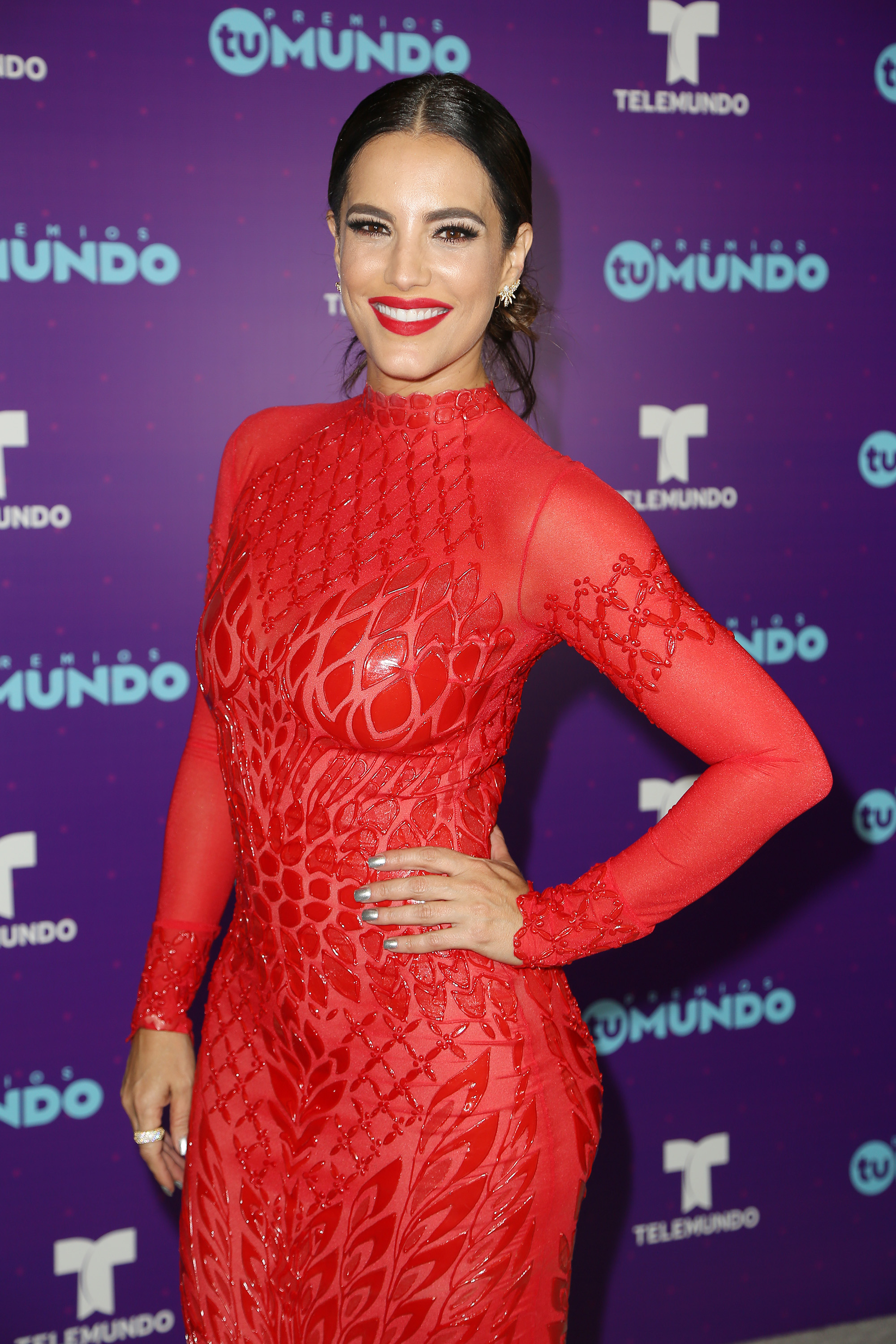 MIAMI, FL - AUGUST 25: Gaby Espino poses backstage at Telemundo's Premios Tu Mundo 'Your World' Awards at American Airlines Arena on August 25, 2016 in Miami, Florida. (Photo by Troy Rizzo/WireImage)