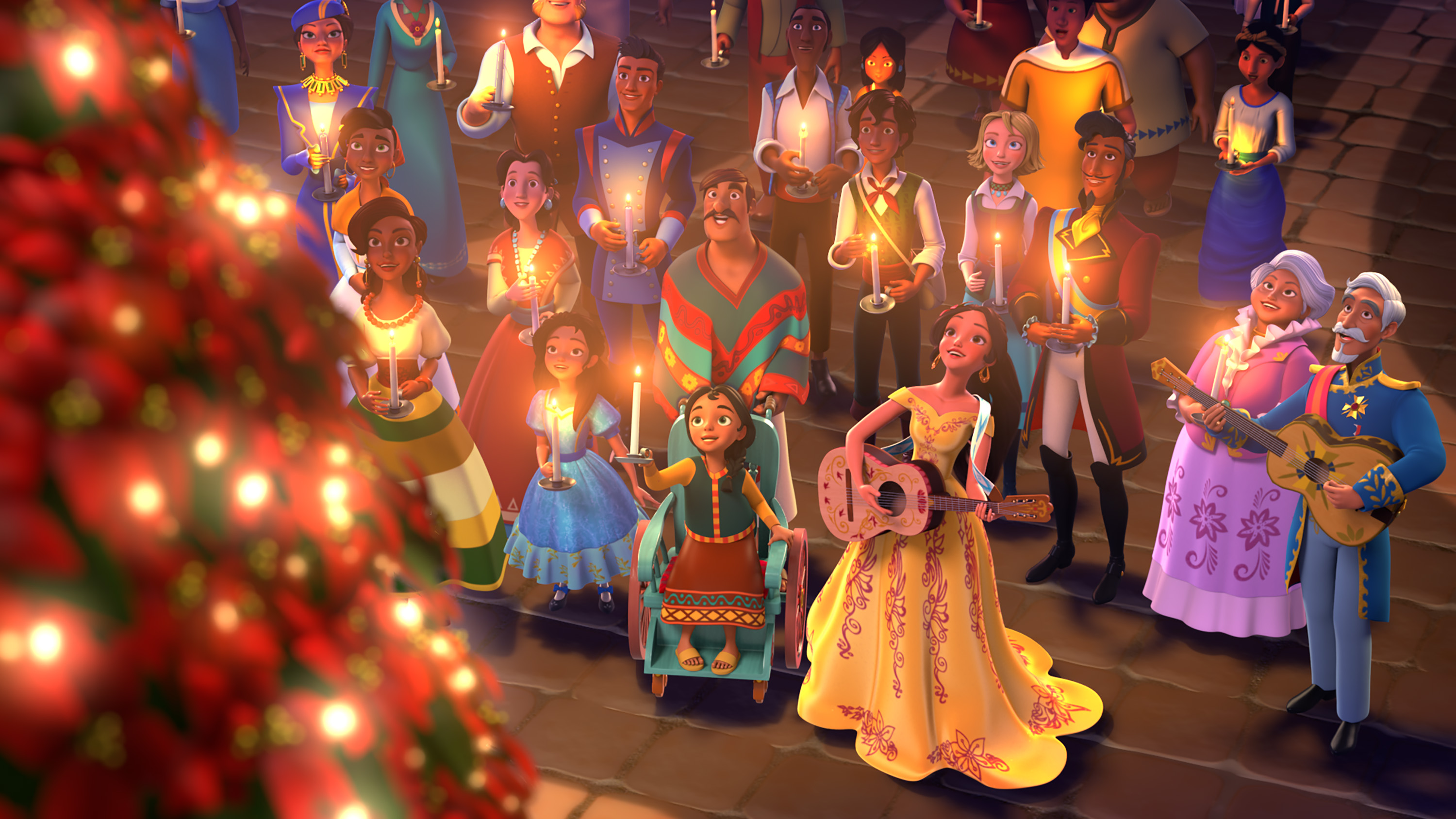 "ELENA OF AVALOR - ""Navidad"" - In the special ""Navidad"" episode, premiering FRIDAY, DECEMBER 9 (7:30 p.m., ET/PT) on Disney Channel, Elena bring all the communities of Avalor together to share each other's holiday traditions. But when a Do–a Paloma scheme causes an overly competitive atmosphere, Elena sets off on a traditional ""parranda"" and carols through the city to remind everyone of the true spirit of Navidad. (Disney Channel) MARLENA, ISABEL, GABE, MATEO, NAOMI, ELENA, ESTEBAN, LUISA, FRANCISCO"