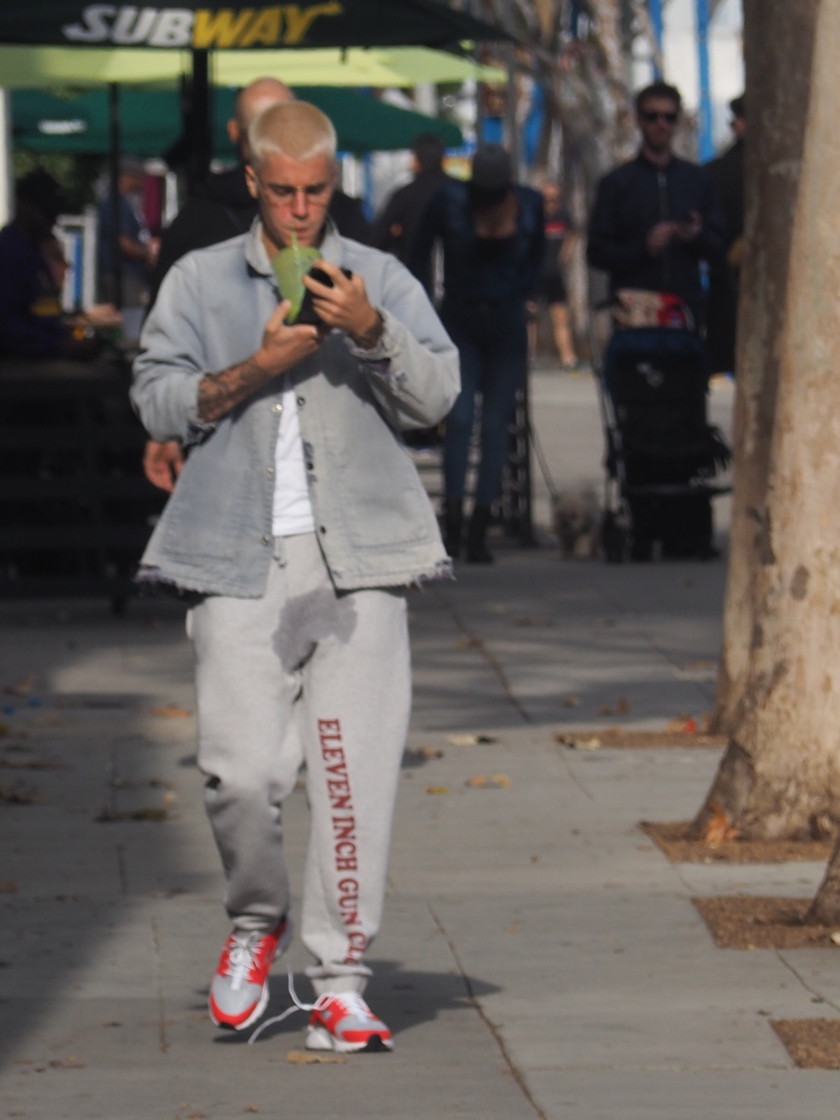 EXCLUSIVE Justin Bieber Sports A Big Wet Spot On His Pants And Blonde Buzz Cut