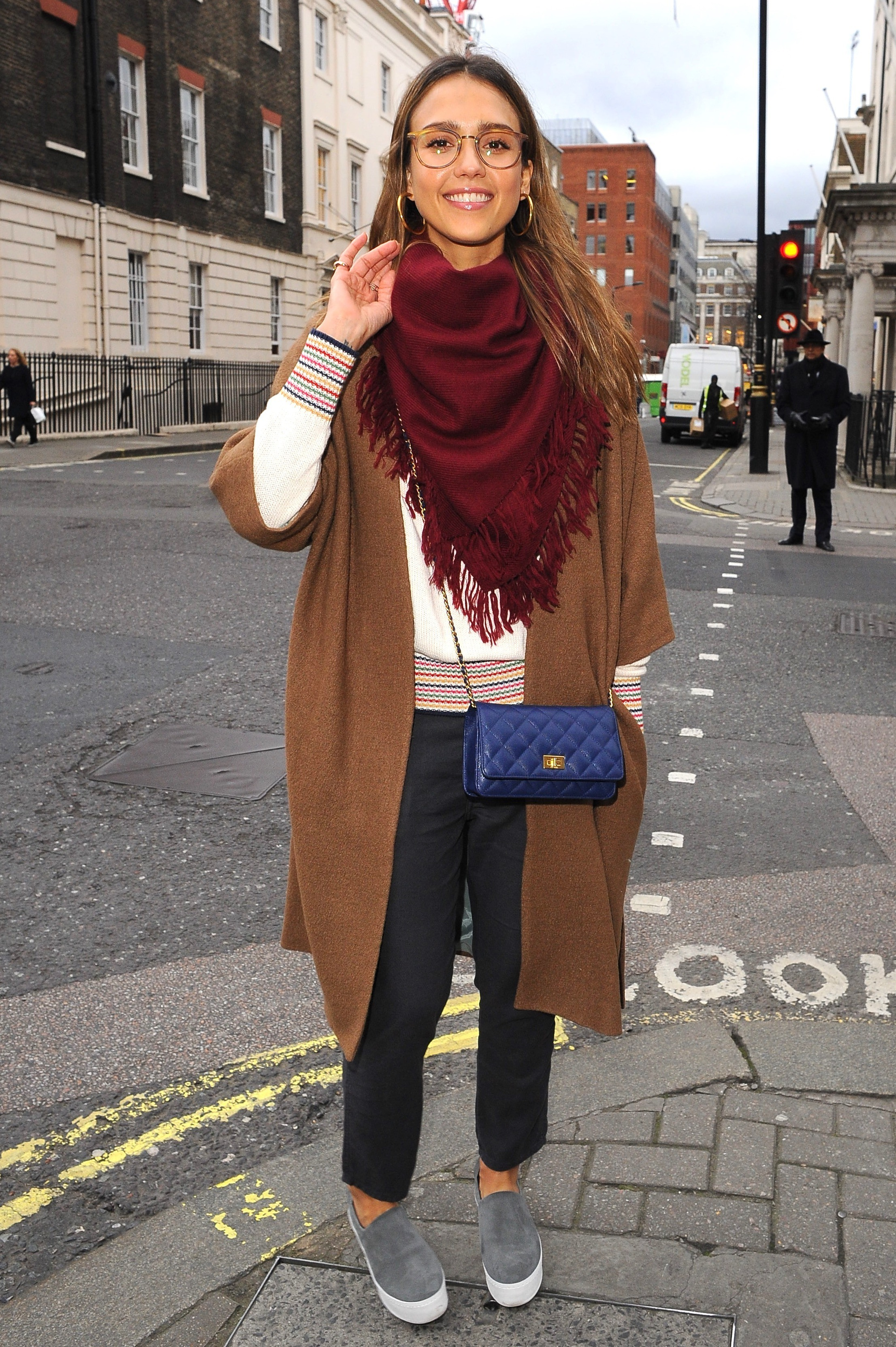 Jessica Alba Looks Effortlessly Chic In Geek Glasses While Out And About In London
