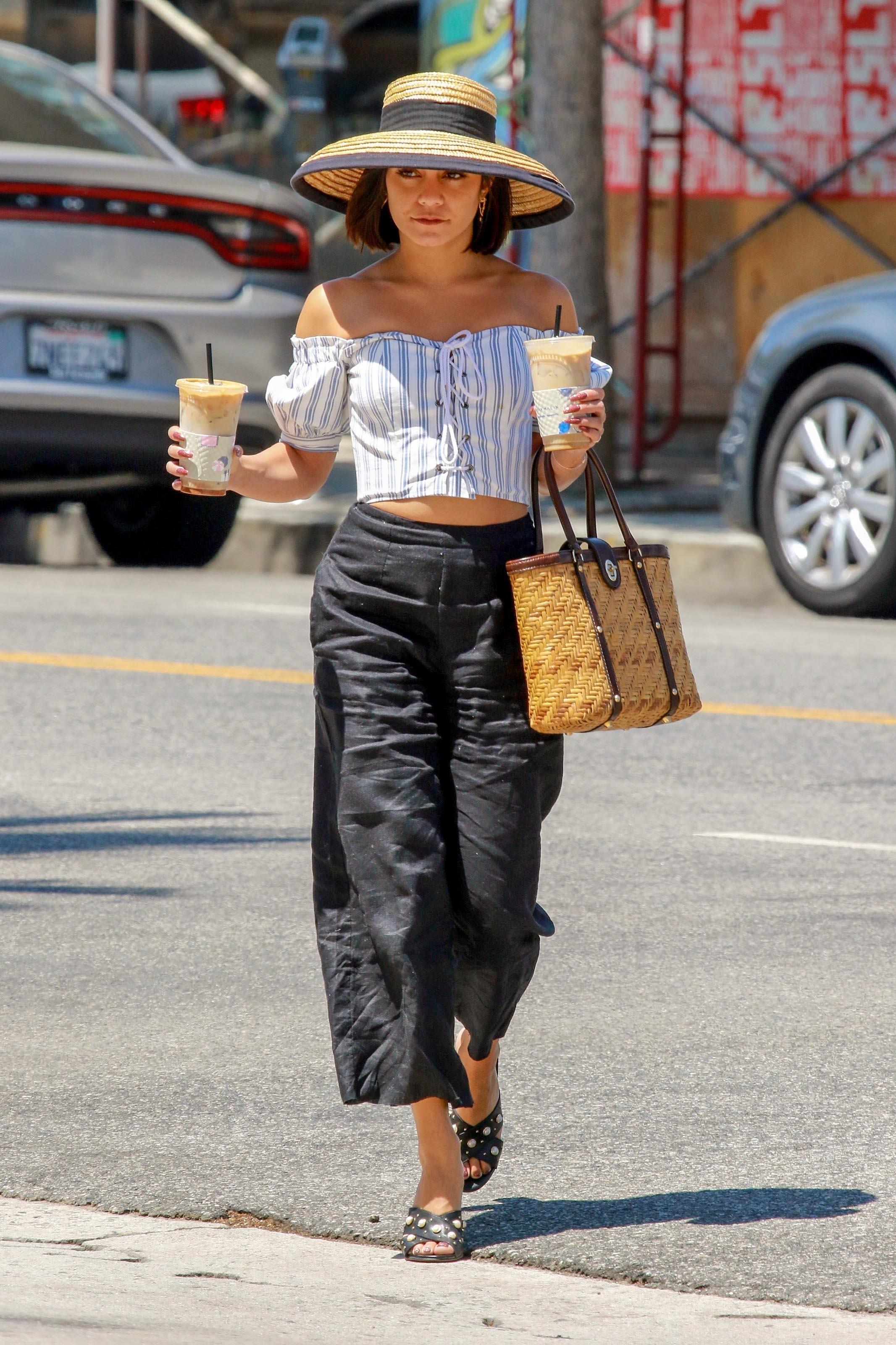 EXCLUSIVE Vanessa Hudgens Shows Some Skin in Off-The-Shoulder Crop Top