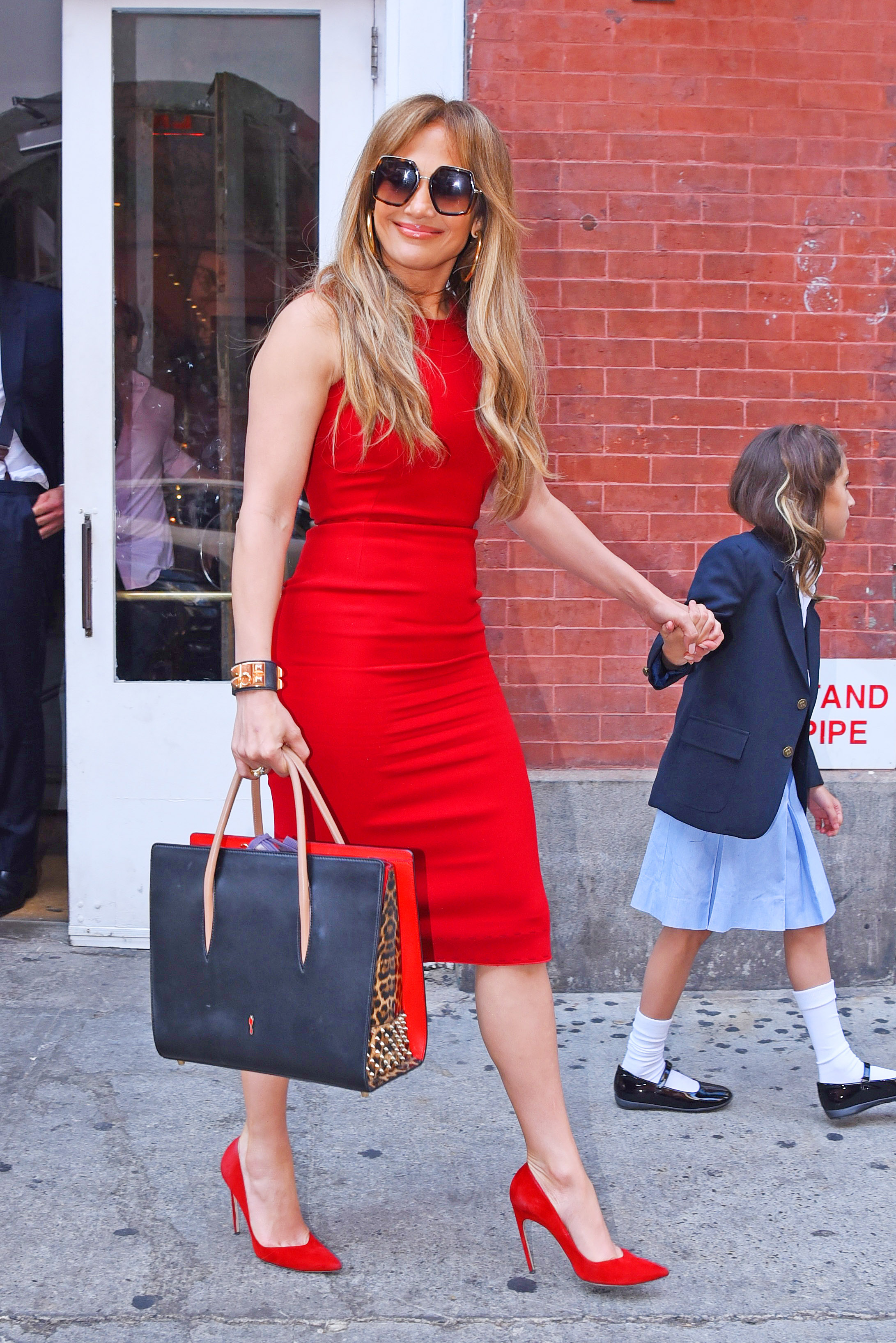 Jennifer Lopez Parades Curves in a Tight Red Pencil Dress as she Heads Out with Alex Rodriguez