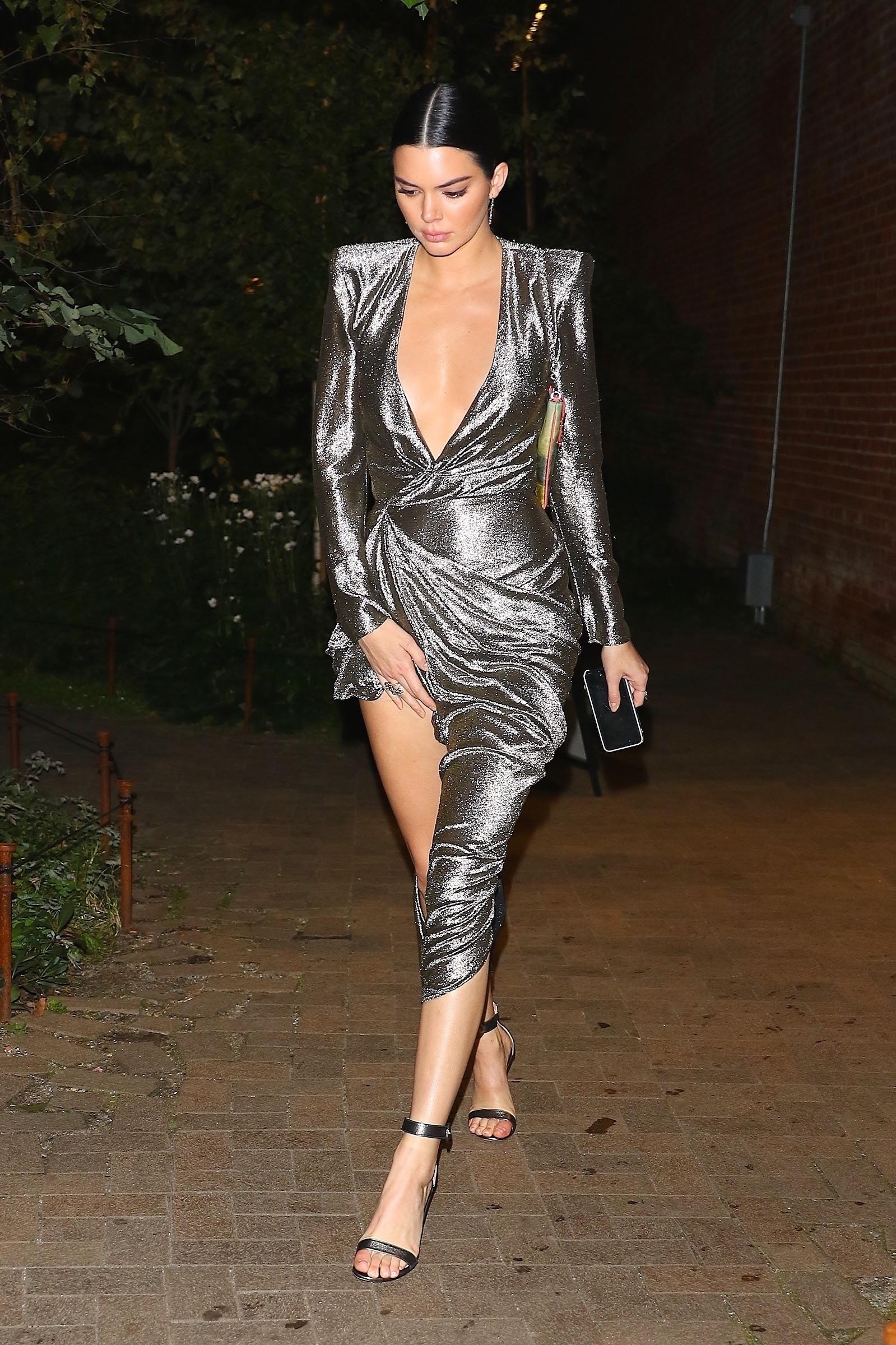 EXCLUSIVE Kendall Jenner Looks Stunning in Silver Dress