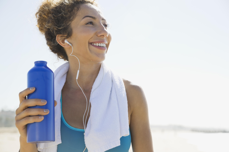 Active woman on the beach