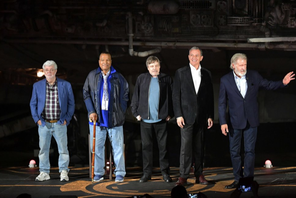 George Lucas, Billy Dee Williams, Mark Hamill, Bob Iger and Harrison Ford AMY SUSSMAN/GETTY IMAGES