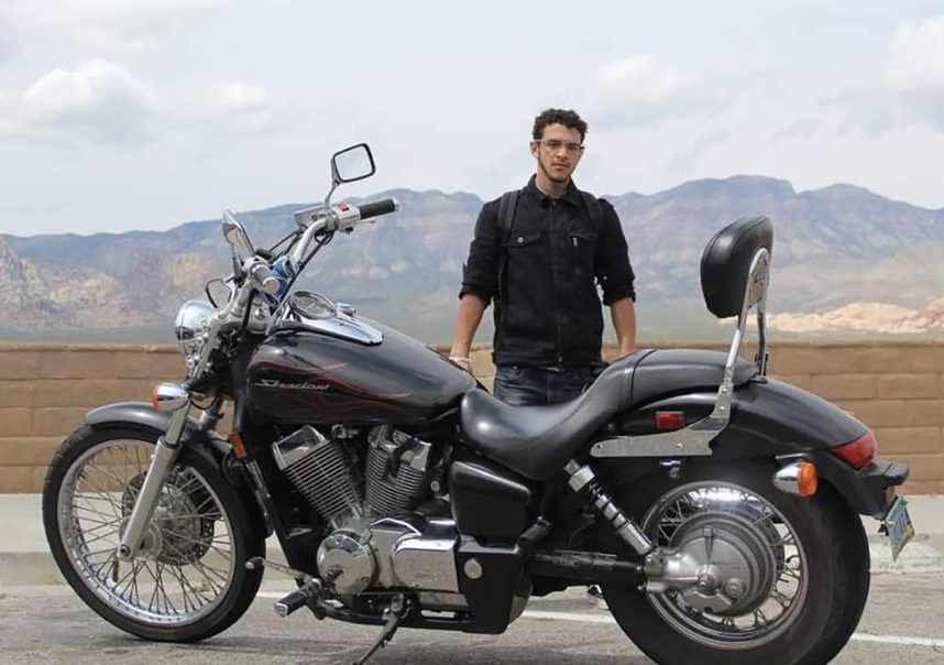 Michael Sigler and his motorcycle