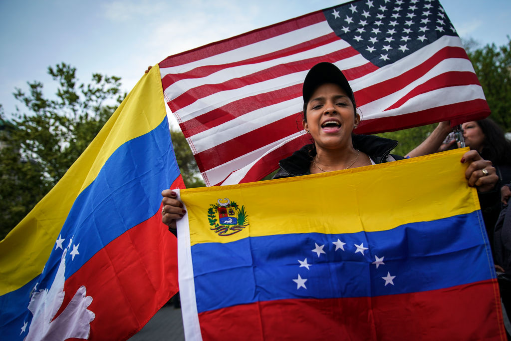 Demonstrators Rally In New York City In Support Of Venezuelan Coup Attempt
