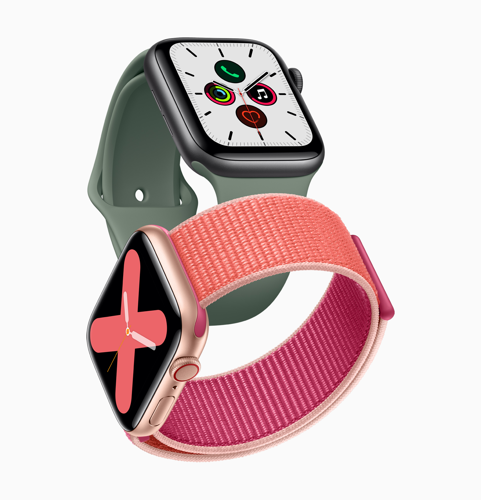 apple_watch_series_5-gold-aluminum-case-pomegranate-band-and-space-gray-aluminum-case-pine-green-band-091019.jpg