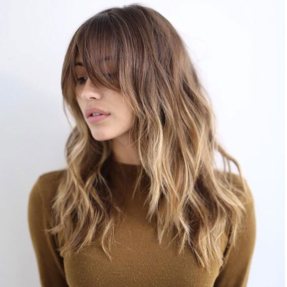 Round Face Layered Hair With Bangs Long Length 43