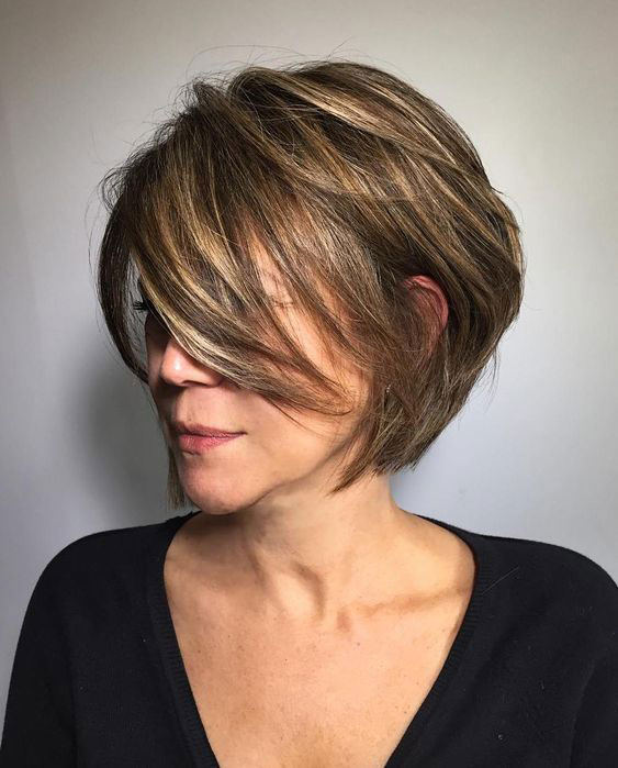 Short Layered Bob Haircuts For Older Women 59