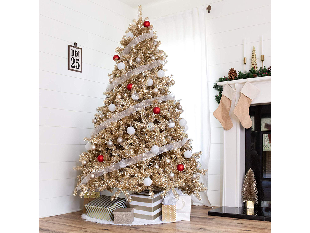 9 Gold Christmas Trees To Light Up Your Living Room Southern Living