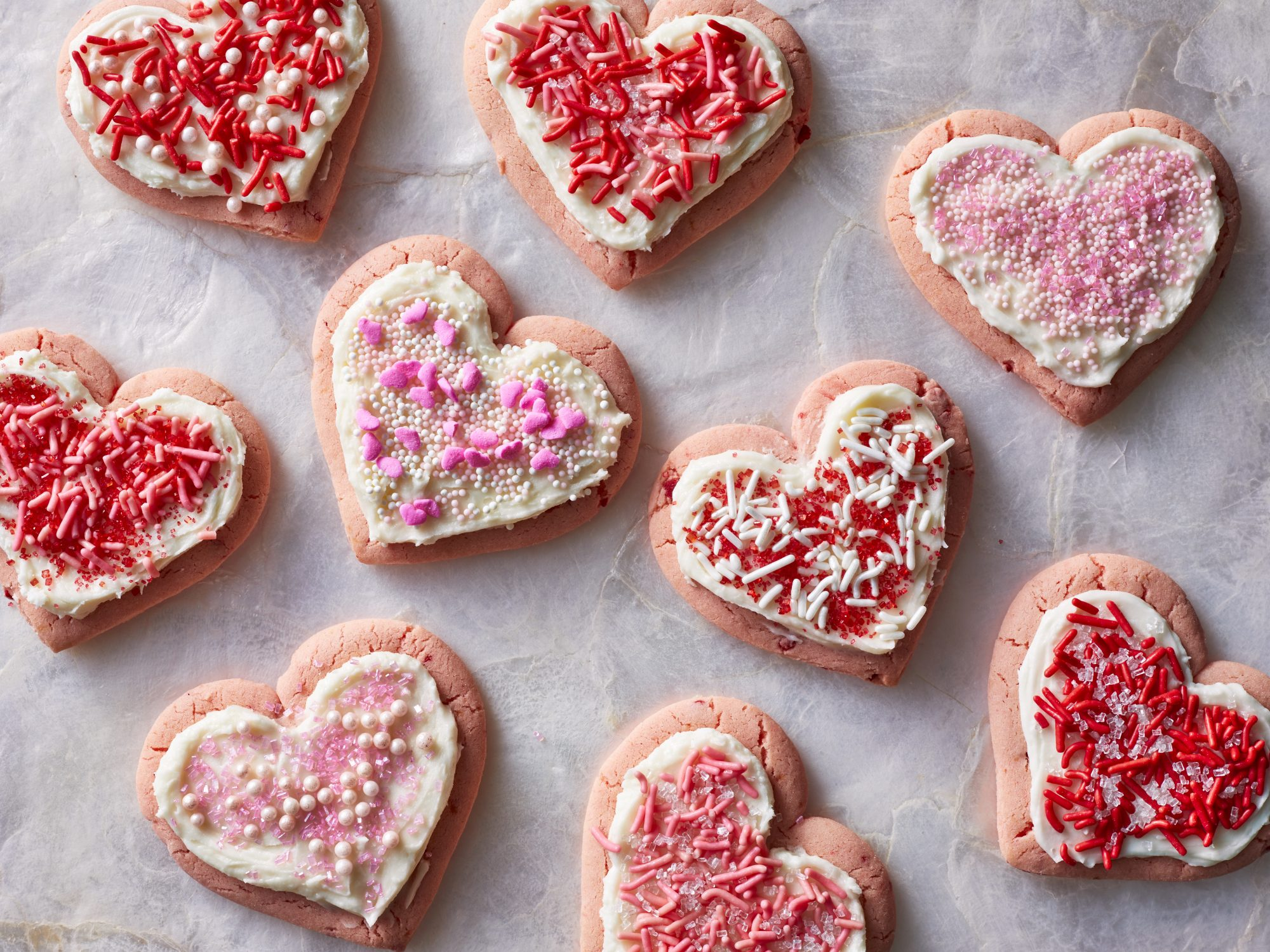 Image result for pink strawberry Cake Mix heart shape Cookies