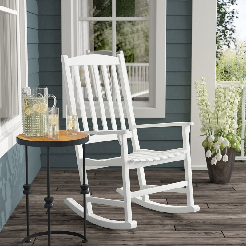 with Absolute Weather Resistance and Durability,White Rocking Chair Wooden Rocking Armchair with backrest Old-Fashioned Outdoor and Indoor use