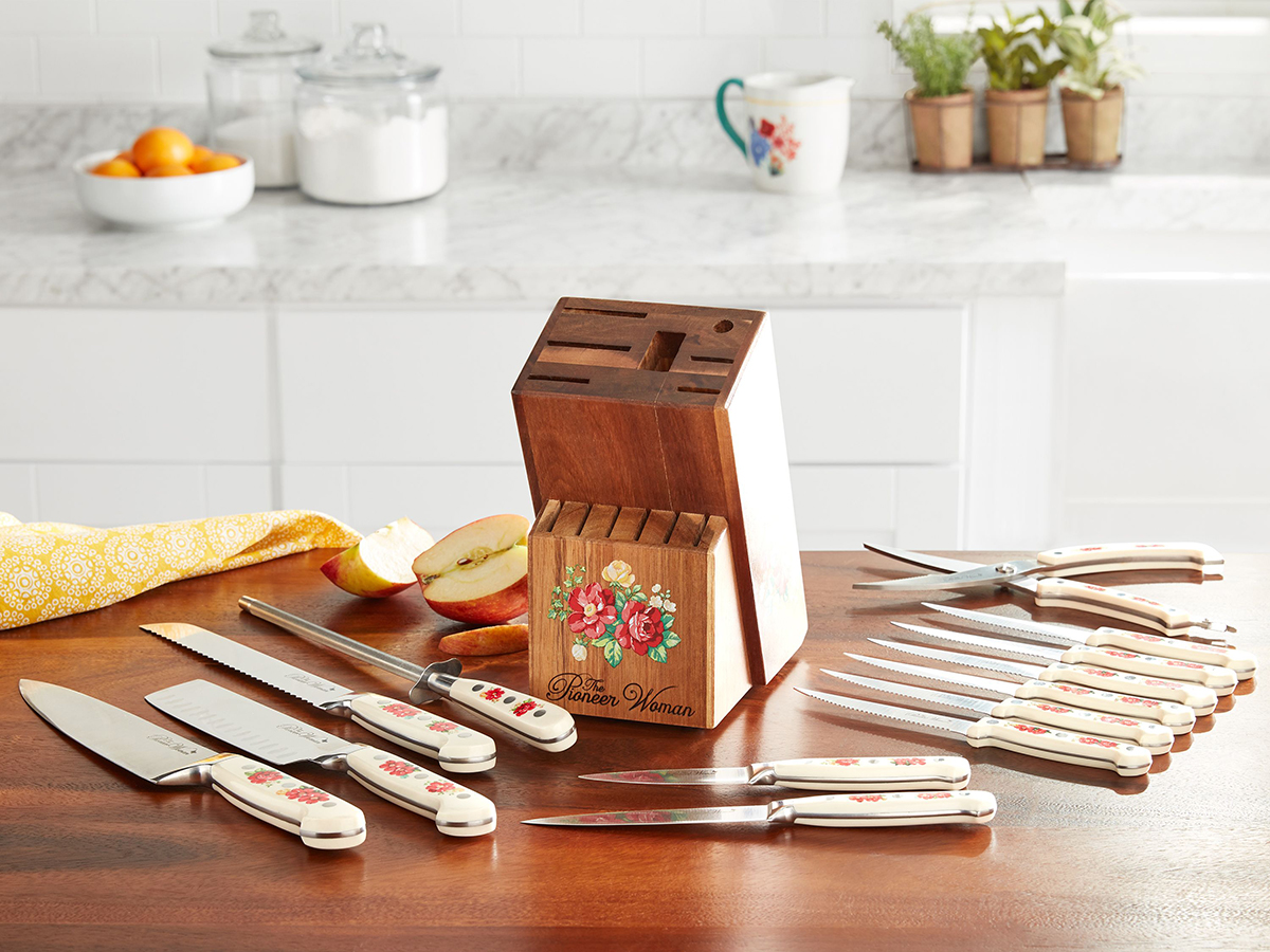 Line The Pioneer Woman Frontier Collection 14-Piece Cutlery Set with Wood Block