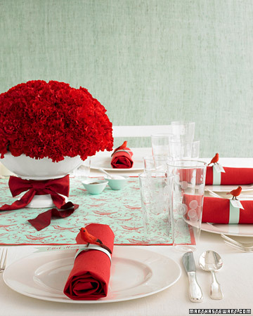 red carnations centerpiece