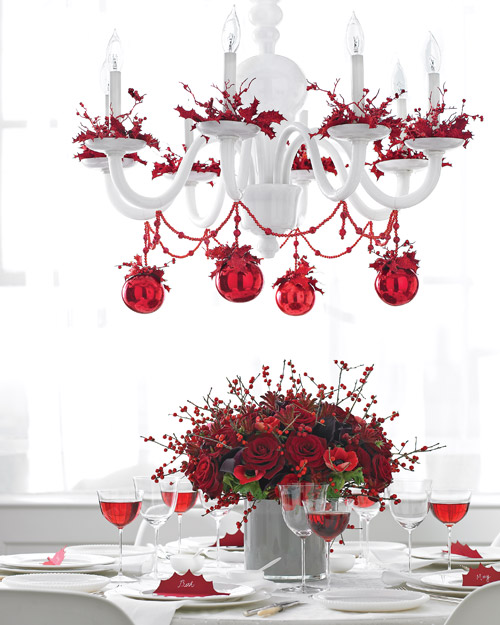 Christmas table with chandelier garland and bobeche trim