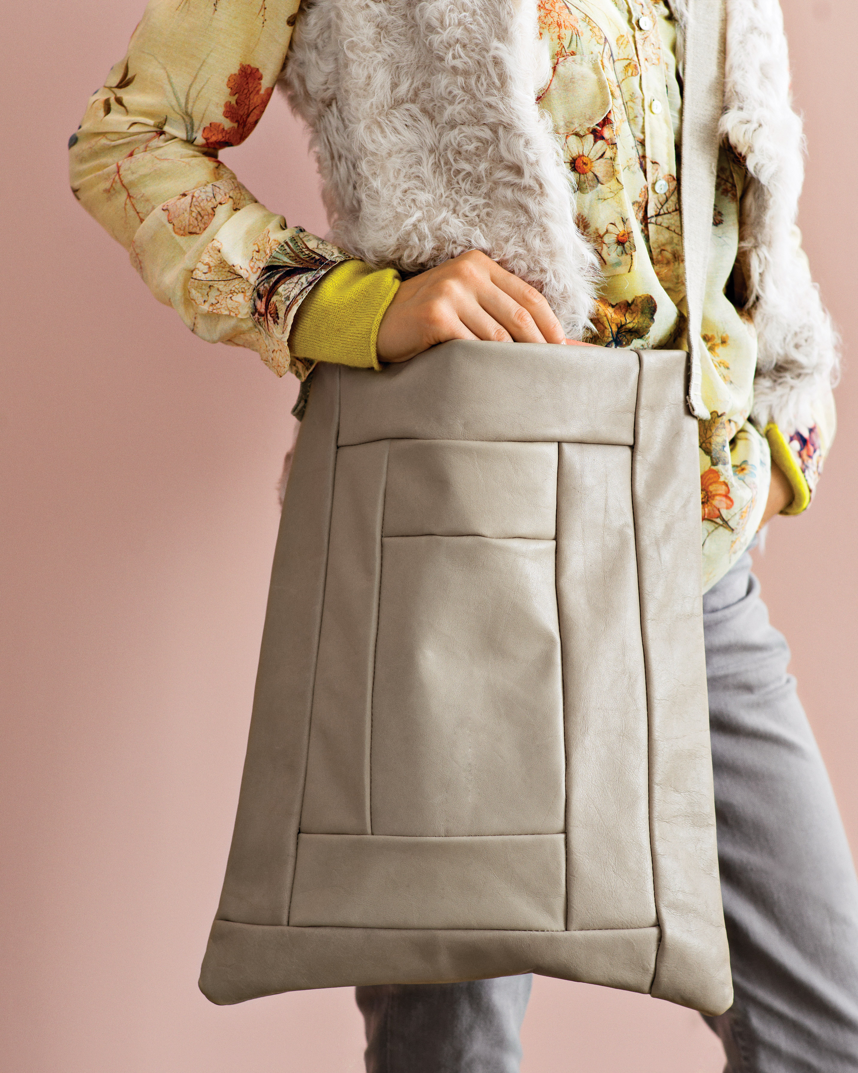 Monochromatic Log-Cabin Leather Tote