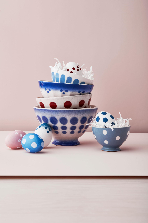 polka dot painted easter eggs in polka dot patterned bowls