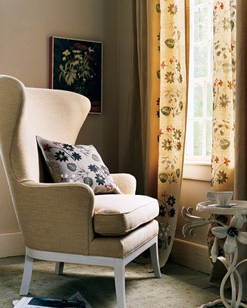 Stenciled Floral Curtains and Pillows