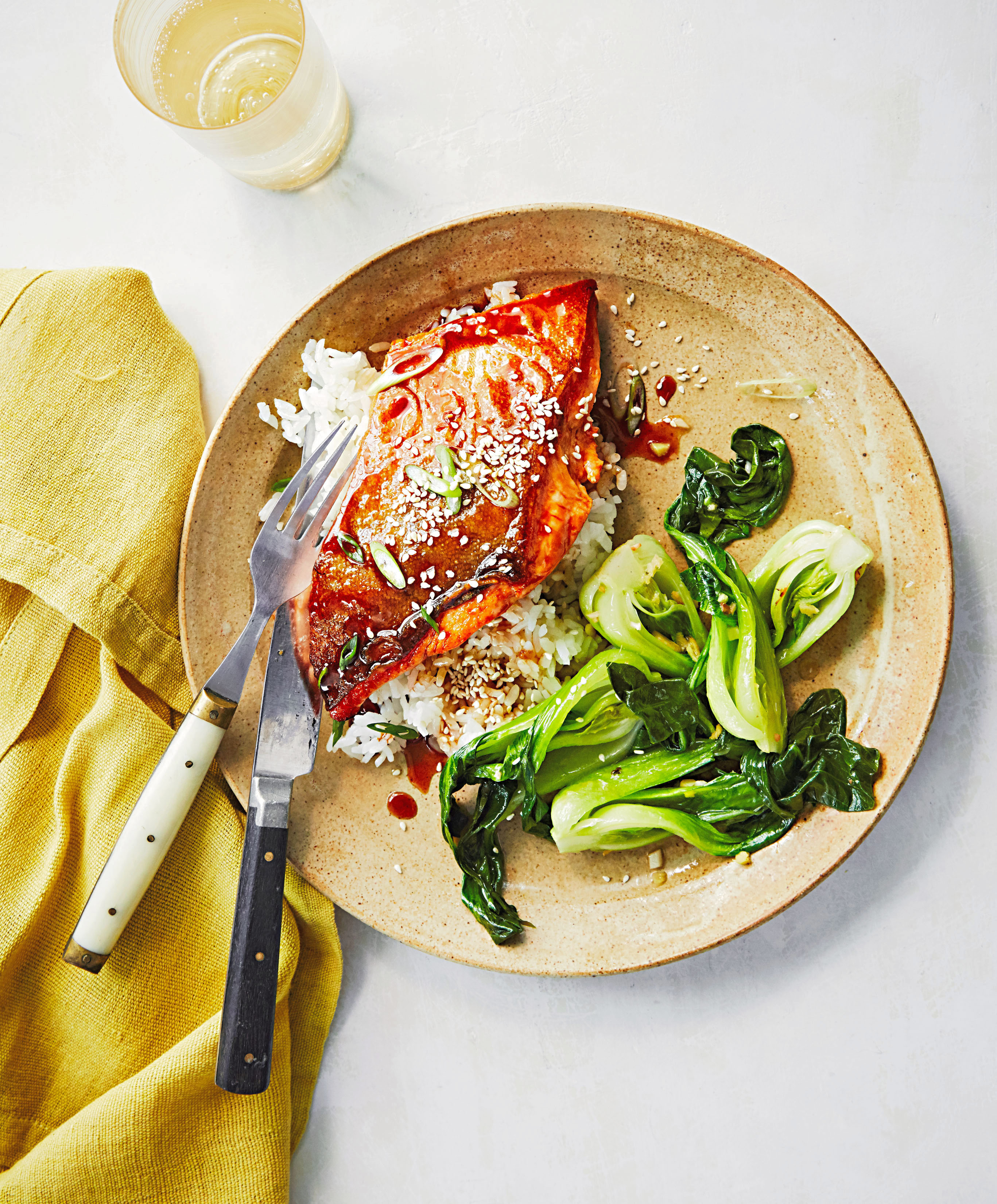 Soy-Honey Glazed Arctic Char with Bok Choy