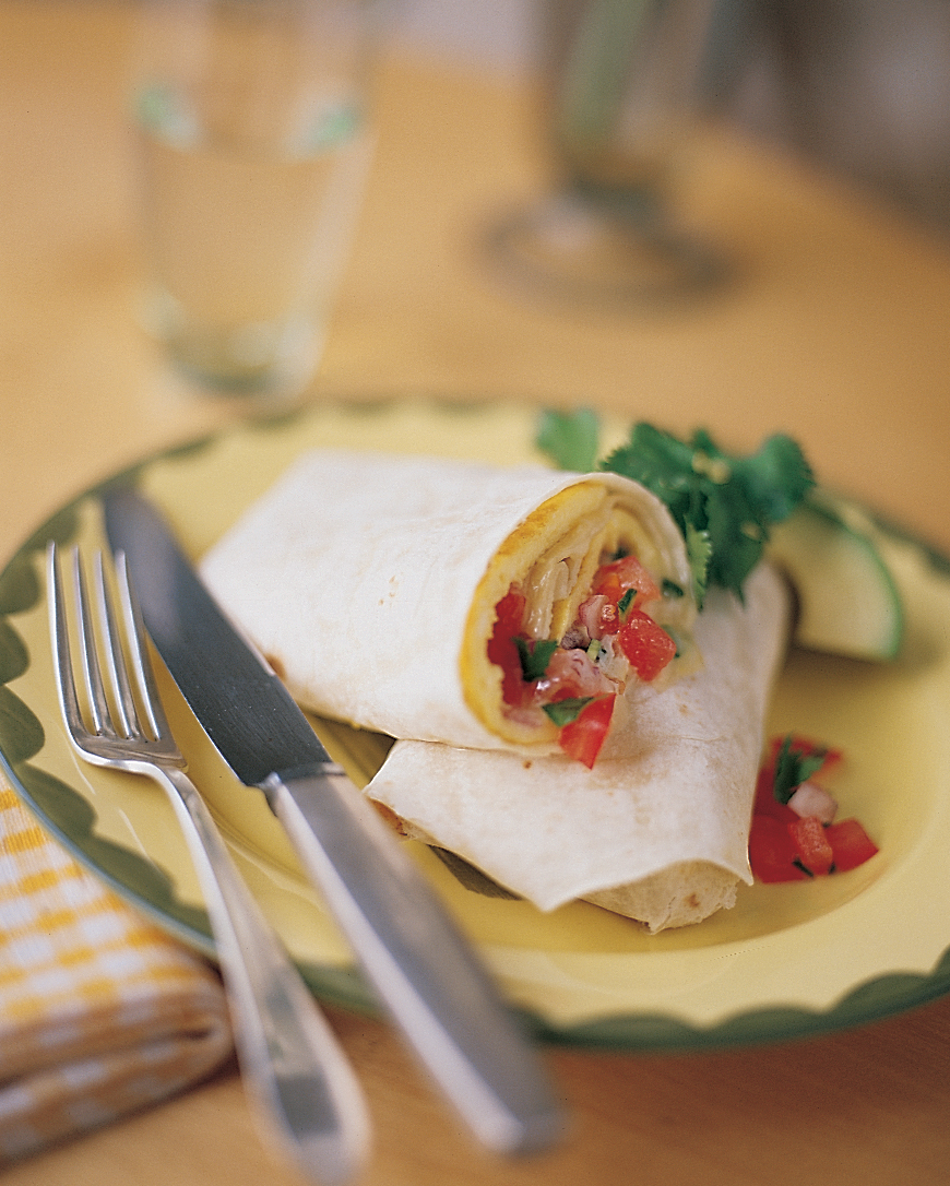 Omelet Burrito with Jack Cheese and Tomato Salsa