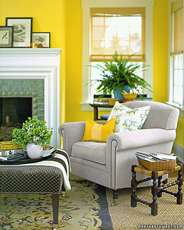 Living room yellow walls simple home decoration Bright yellow wall paint