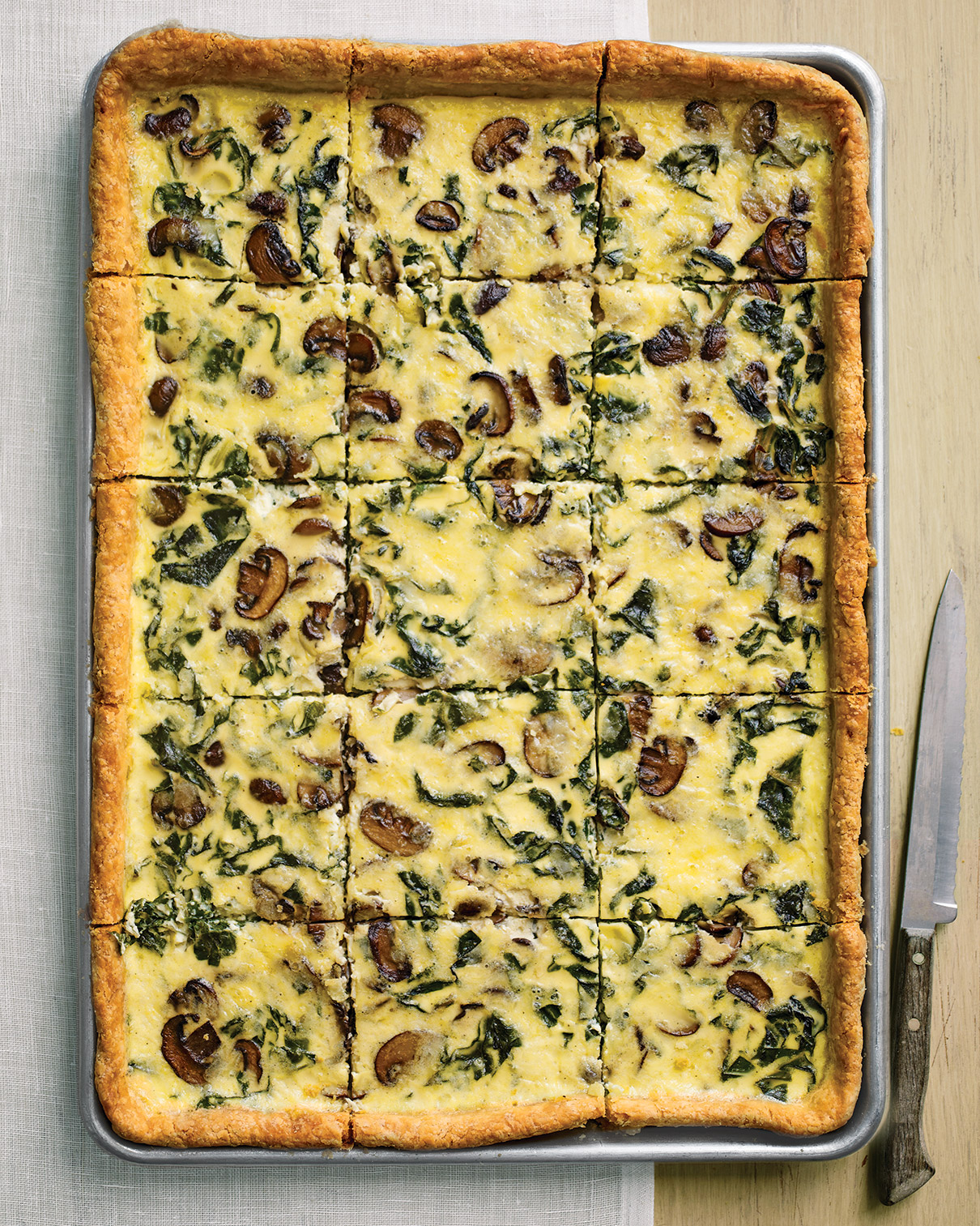Swiss Chard, Mushroom, and White-Cheddar Quiche