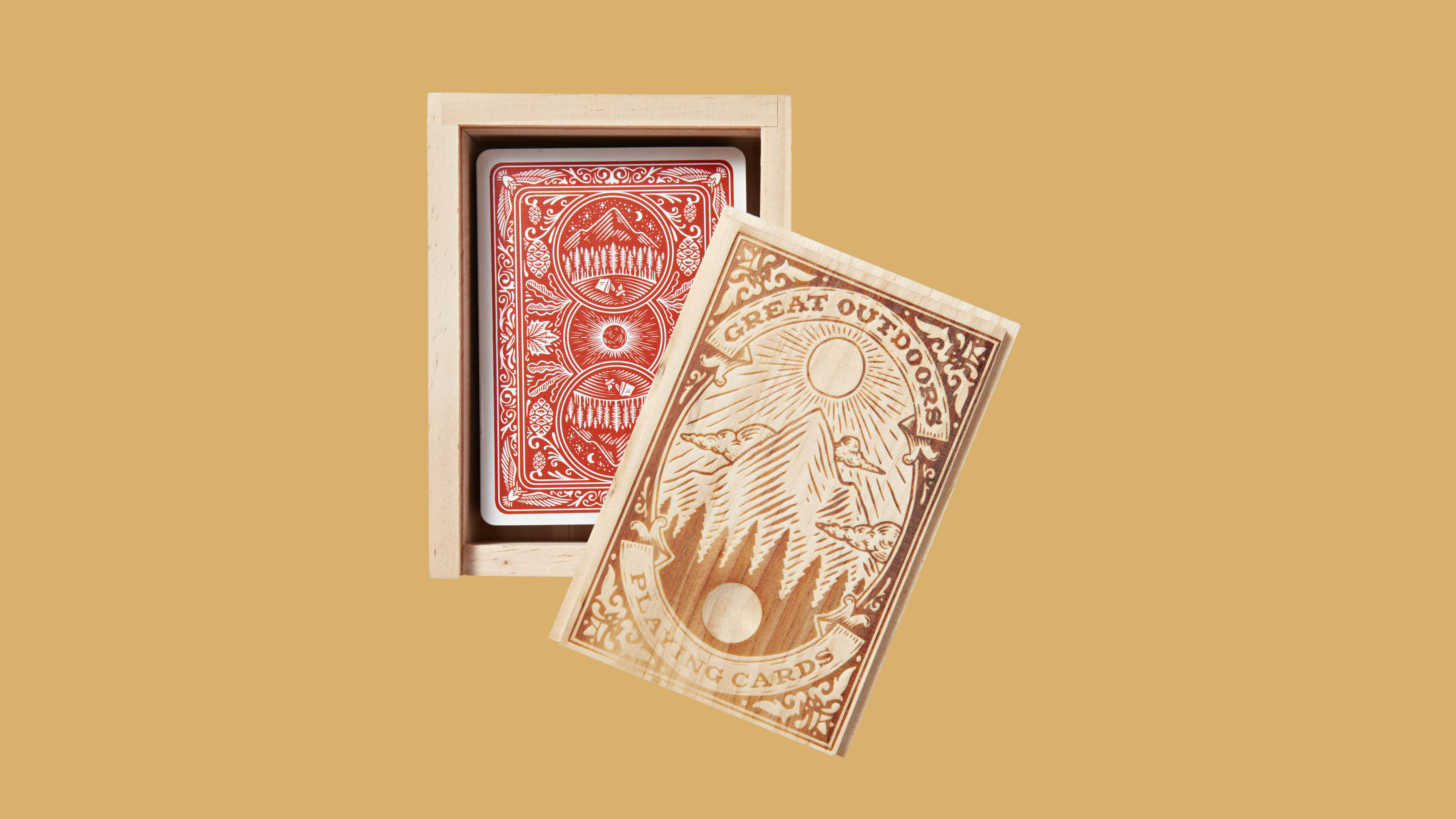 Great Outdoors playing cards in wooden case