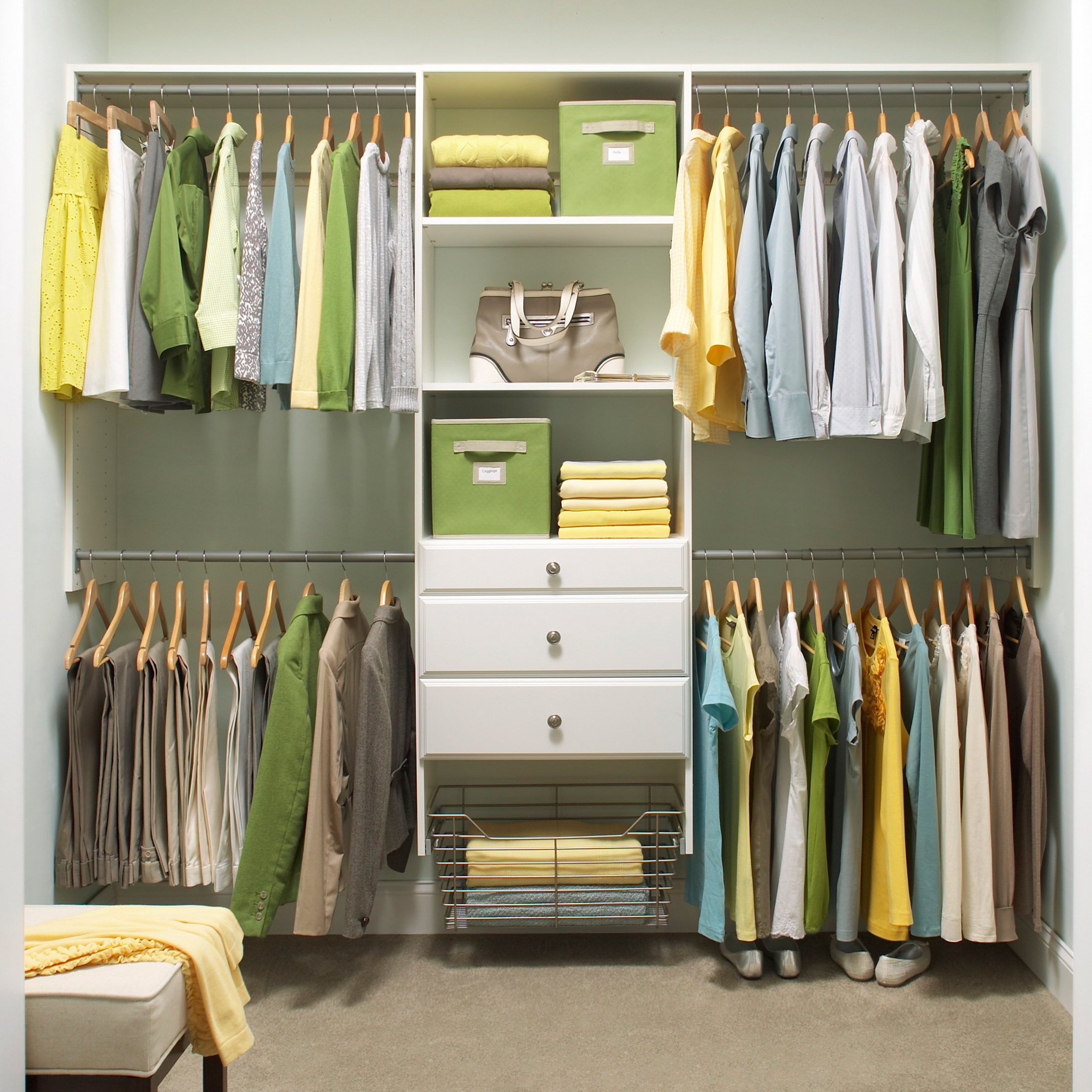 Closet organization made simple by martha stewart living for Organized walk in closet