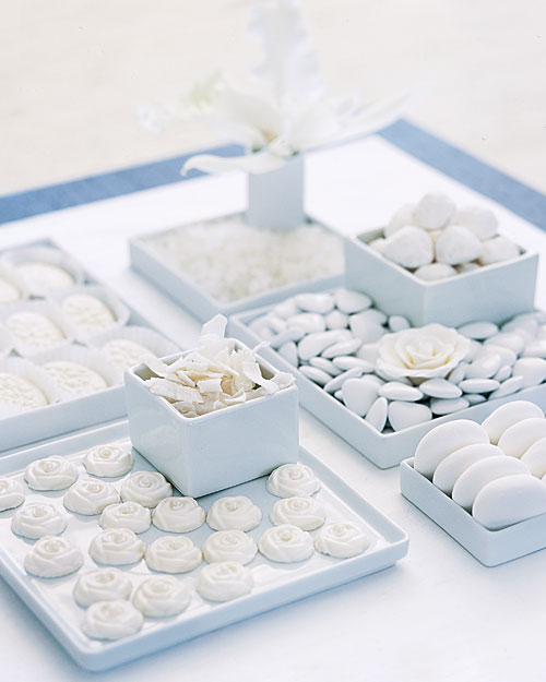 all in white shower decor and favors martha stewart