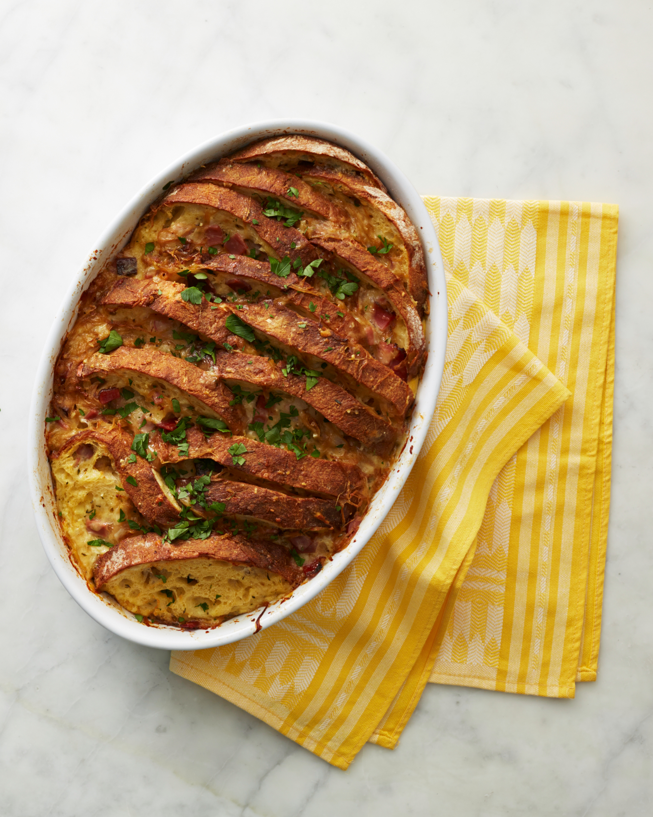Fontina, Speck, and Onion Strata